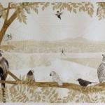Web, walnut ink on paper, 22 x 30 in., 2013